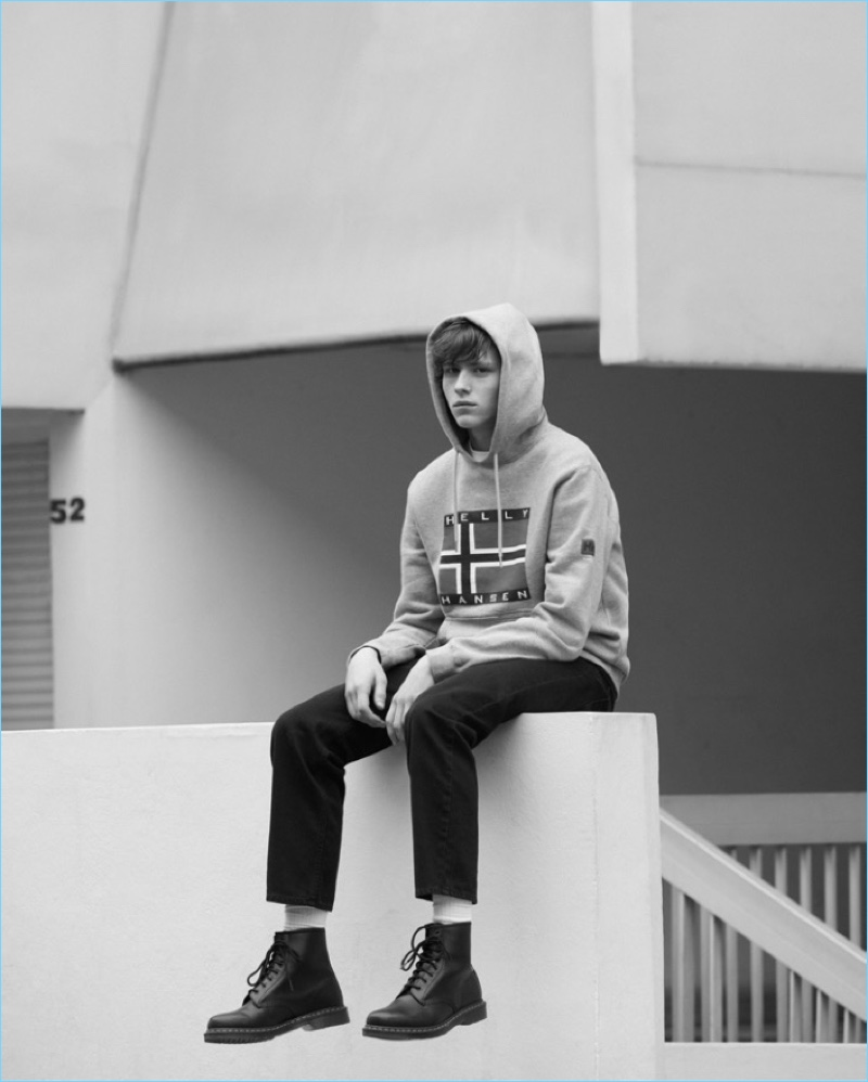 Model Noah Bunink goes casual in a look from Sandro's Helly Hansen collaboration.