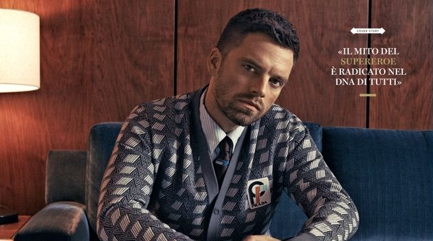 A smart vision, Sebastian Stan dons Prada.