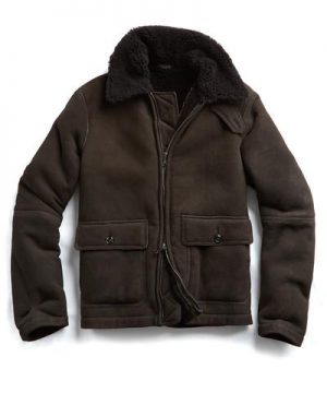 Shearling Flight Jacket in Brown