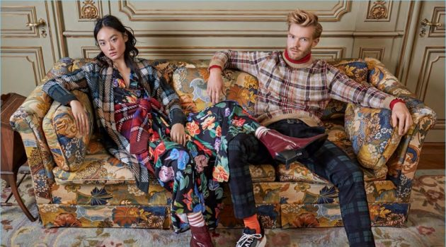 Ash Foo and Nicholas Faulkner showcase tartan fashions. A smart vision, Nicholas wears a plaid sweater and LE 31 turtleneck with Scotch & Soda tartan pants.