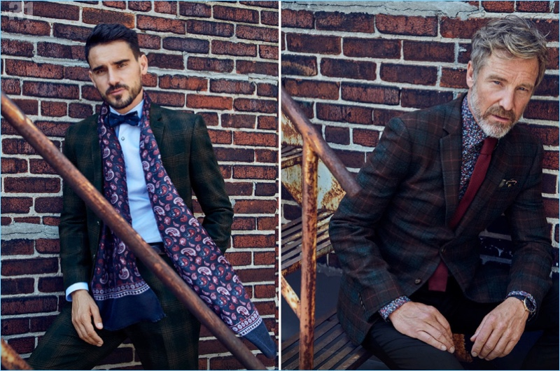Left: Dressed to impress, Arthur Kulkov wears a LE 31 faded check suit, shirt, and paisley print scarf with an Atkinsons bow-tie. Right: Rainer Andreesen models a LE 31 heritage check jacket, wool pants, a knit tie, and painterly micro-floral shirt.