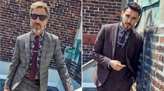 Left to Right: Rainer Andreesen wears a LE 31 floral sketch shirt and colored tie with a Bosco Prince of Wales suit. Arthur Kulkov rocks a LE 31 plum three-piece suit with a peony shirt.