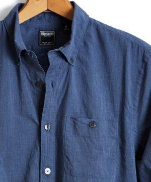 Slim Fit Melange Button Down Shirt in Navy