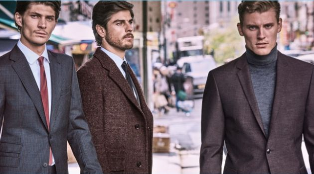 Jake Lahrman, Evandro Soldati, and Mikkel Jensen star in Strellson's fall-winter 2018 campaign.