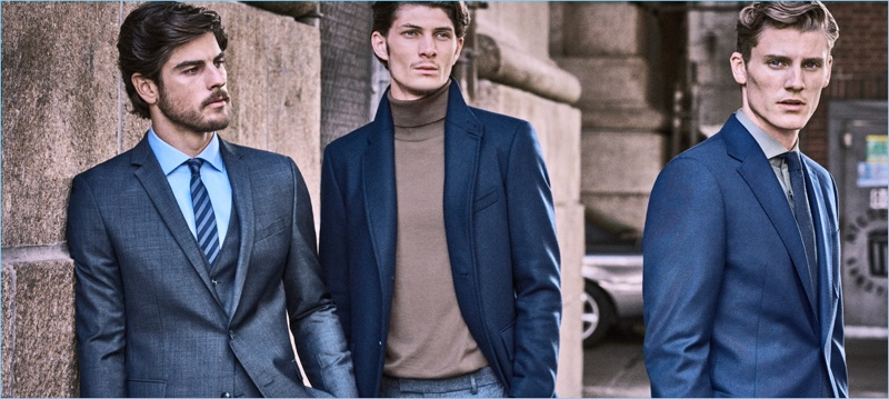Evandro Soldati, Jake Lahrman, and Mikkel Jensen appear in Strellson's fall-winter 2018 campaign.