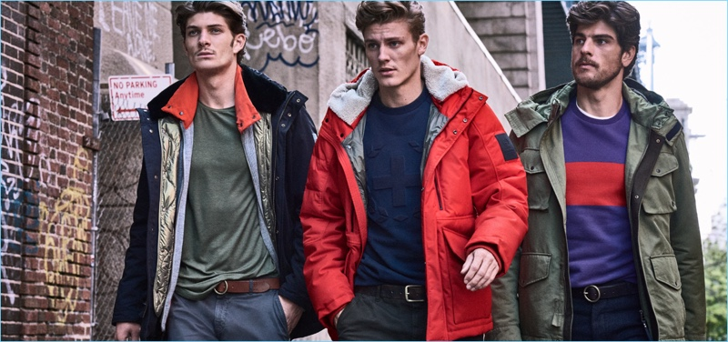 Going casual, Jake Lahrman, Mikkel Jensen, and Evandro Soldati appear in Strellson's fall-winter 2018 campaign.
