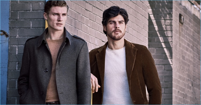 Models Mikkel Jensen and Evandro Soldati come together for Strellson's fall-winter 2018 campaign.
