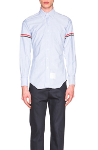 Thom Browne Classic Button Down with Grosgrain Armbands in Light Blue