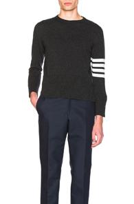 Thom Browne Classic Cashmere Crewneck Sweater in Gray