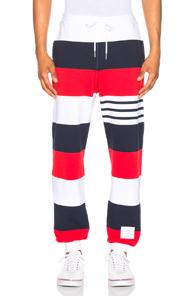 Thom Browne Classic Sweatpants in Blue,Red,Stripes,White