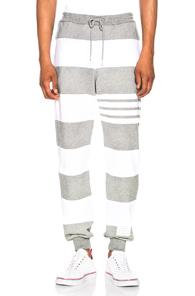 Thom Browne Classic Sweatpants in Gray,Stripes,White