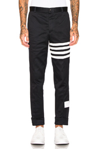 Thom Browne Cotton Twill Unconstructed Chino in Blue,Stripes,White