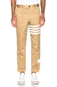 Thom Browne Cotton Twill Unconstructed Chino in Neutral,Stripes,White