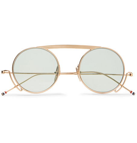 Round Thom Sunglasses Frame Men – The Tone Gold Browne FxxAnT
