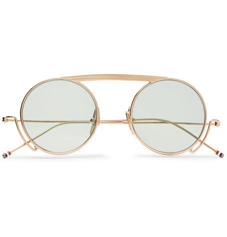 f5e472a6493 Thom Browne – Round-Frame Gold-Tone Sunglasses – Men – Gold