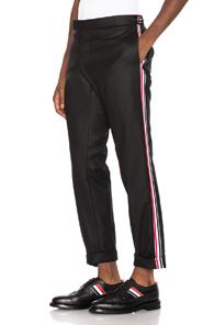 Thom Browne Wool Flannel Elastic Stripe Trouser in Black