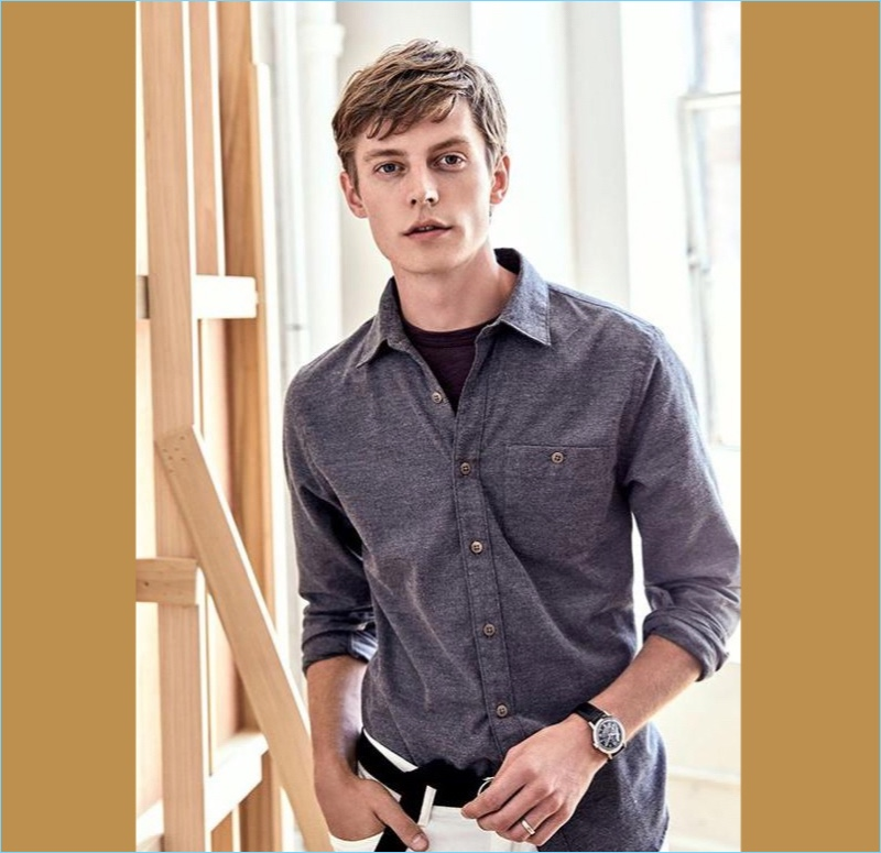 Brushed Cotton Cashmere Shirt: Janis Ancens is a smart casual vision in Todd Snyder's brushed cotton cashmere shirt.