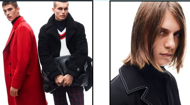 Models Finn Hayton, Kasper Peppink, and Zach Norton star in Topman's fall-winter 2018 campaign.