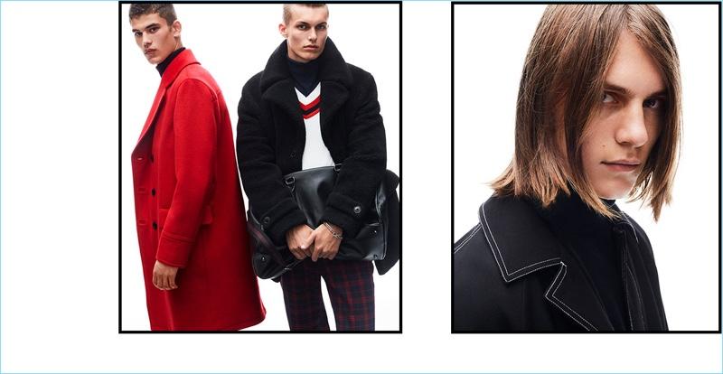 Models Finn Hayton, Kasper Peppink, and Zach Norton star in Topman's fall-winter 2018 campaign.