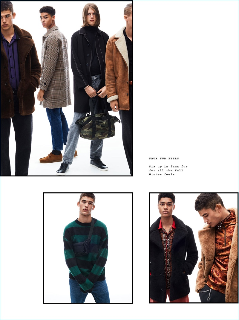 Sporting fall-winter 2018 fashions from Topman, models, Finn Hayton, Désiré Mia, Zach Norton, and Kasper Peppink come together.
