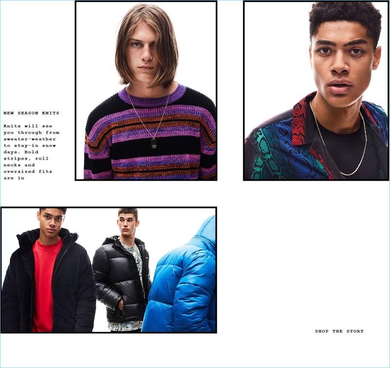 Zach Norton, Désiré Mia, and Finn Hayton model casual pieces from Topman.