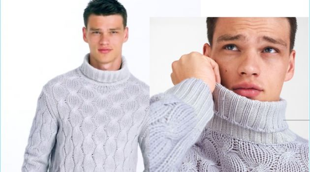 A chic vision, Filip Hrivnak sports a Cruciani cashmere turtleneck sweater.