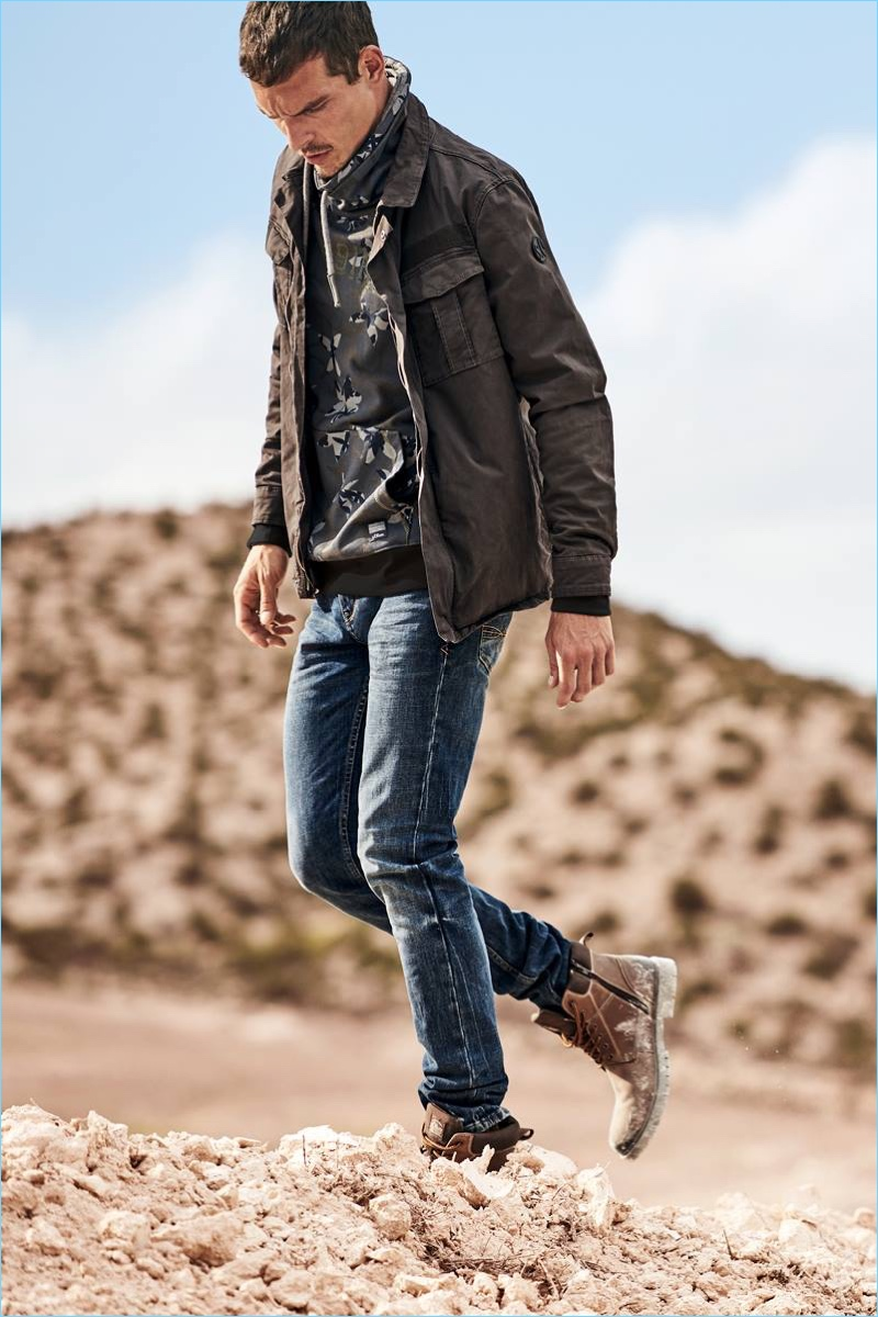Embracing rugged style, Alexandre Cunha stars in s.Oliver's fall-winter 2018 campaign.