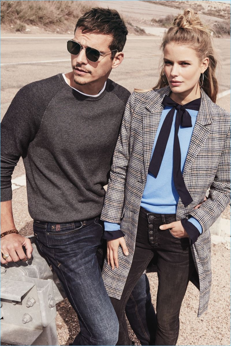 Models Alexandre Cunha and Kirstin Liljegren star in s.Oliver's fall-winter 2018 campaign.