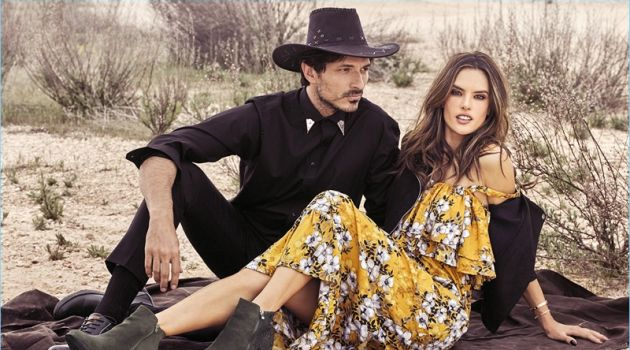 Models Andres Velencoso and Alessandra Ambrósio embrace western style for xti's fall-winter 2018 campaign.