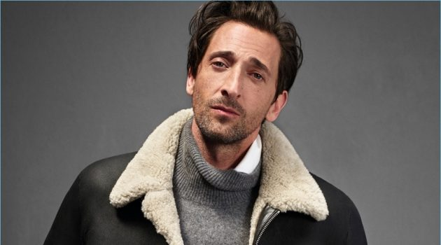 Making a fall statement, Adrien Brody dons a shearling jacket for Mango Man's new campaign.