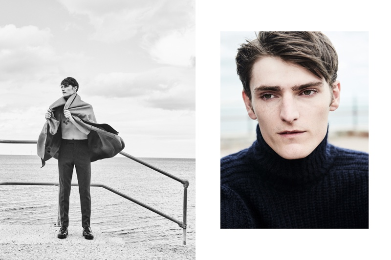 British model Alexander Beck wears fall-winter 2018 looks from Hugo Boss.