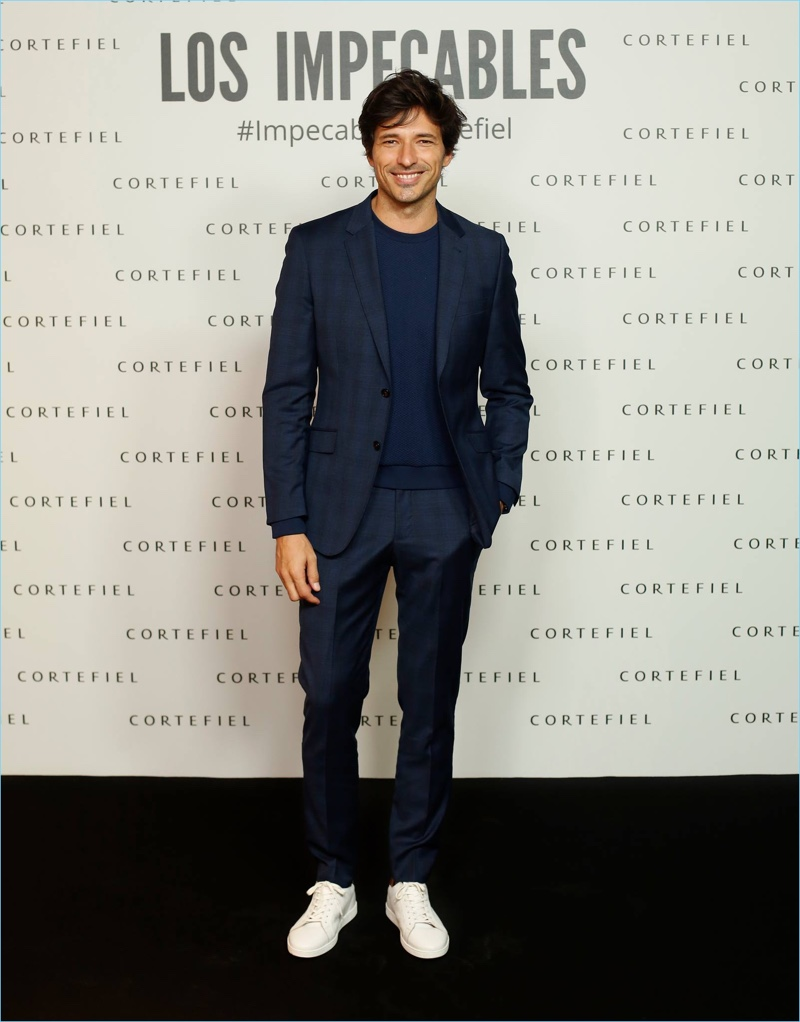 Making a case for the suit and sneakers look, Andres Velencoso is a smart vision.