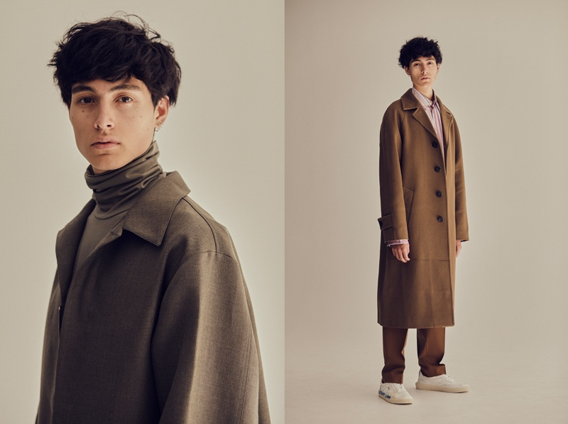 Left: Anthony wears turtleneck and coat Jil Sander. Right: Anthony wears shoes Golden Goose Deluxe Brand, shirt, trousers, and coat Marni.