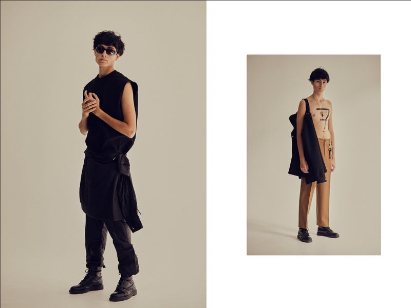 Left: Anthony wears sunglasses stylist's own, shoes Dr Martens, tunic and trousers Rick Owens. Right: Anthony wears shirt on shoulder Rick Owens, trousers Marni, shoes Dr Martens, and accessories model's own.