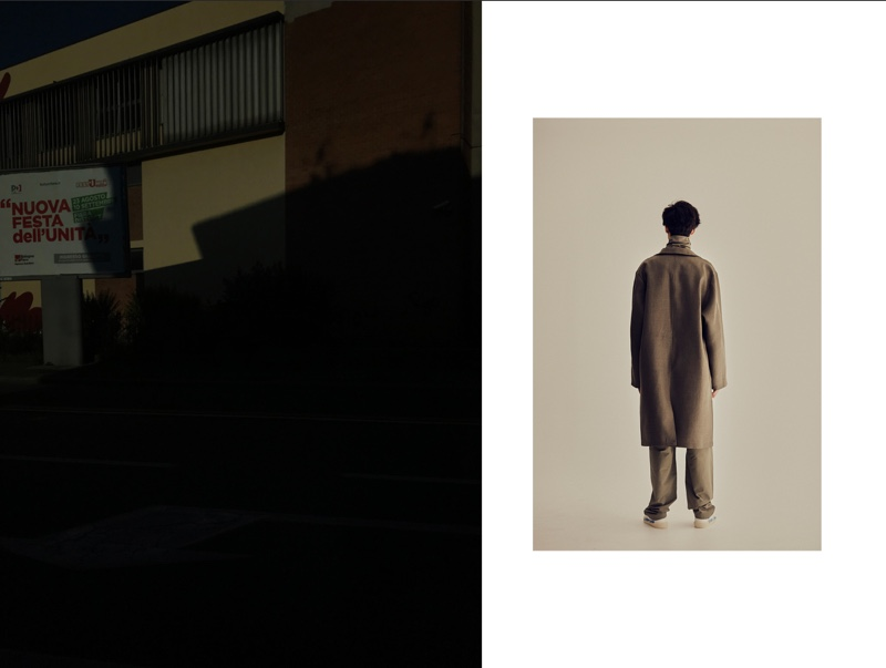Anthony wears shoes Golden Goose Deluxe Brand, coat, turtleneck, and trousers Jil Sander.