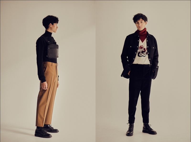 Left: Anthony wears turtleneck Rick Owens, trousers Marni, bag Alyx, and shoes Dr Martens. Right: Anthony wears shirt Rick Owens, turtleneck Kenzo, trousers Neil Barrett, and shoes Dr Martens.