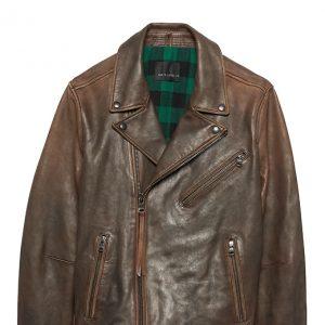 Banana Republic Mens BR x Kevin Love Slim Leather Biker Jacket Rust Brown Size XS