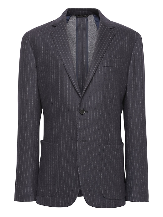 Banana Republic Mens BR x Kevin Love Slim Pinstripe Italian Motion-Stretch Suit Jacket Navy Blue Size 32