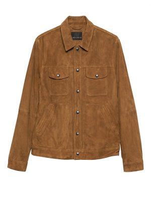 Banana Republic Mens BR x Kevin Love Suede Trucker Jacket Tobacco Brown Suede Size XS