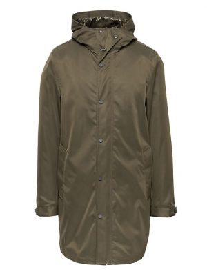 Banana Republic Mens BR x Kevin Love Water-Resistant Hooded Jacket Dark Olive Green Size XS
