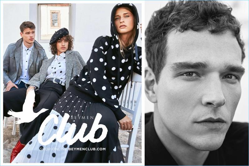 Models Filip Hrivnak, Alanna Arrington, Regitze Christensen, and Alexandre Cunha appear in Beymen Club's fall-winter 2018 campaign.
