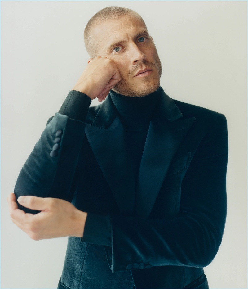 Mike Guenther models a Brioni velvet one-button tuxedo jacket with a wool-blend turtleneck.
