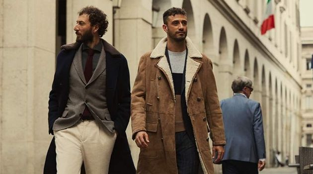 Diego Confalonieri and Luigi Samele wear fall-winter 2018 looks from Brunello Cucinelli for Mr Porter.