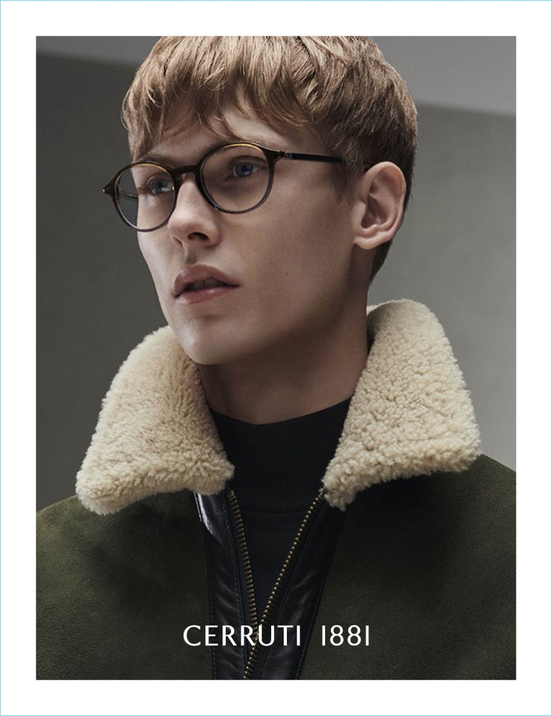 A smart vision, Oliver Houlby dons glasses for Cerruti 1881's fall-winter 2018 campaign.