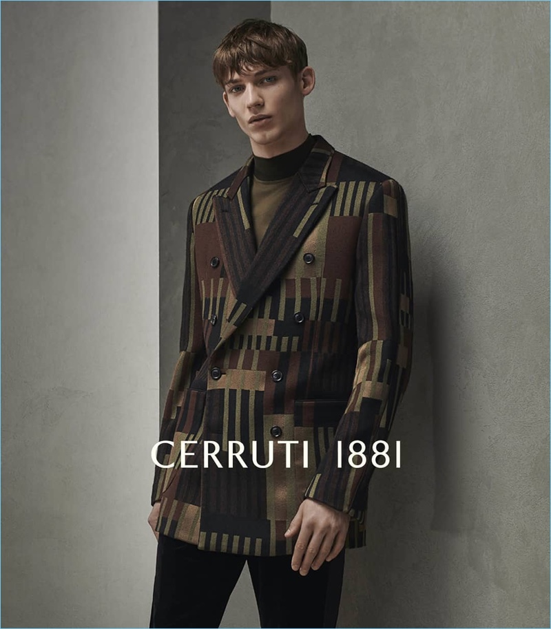 Making a case for prints, Christopher Einla appears in Cerruti 1881's fall-winter 2018 campaign.