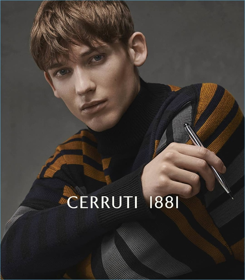 Christopher Einla fronts Cerruti 1881's fall-winter 2018 campaign.