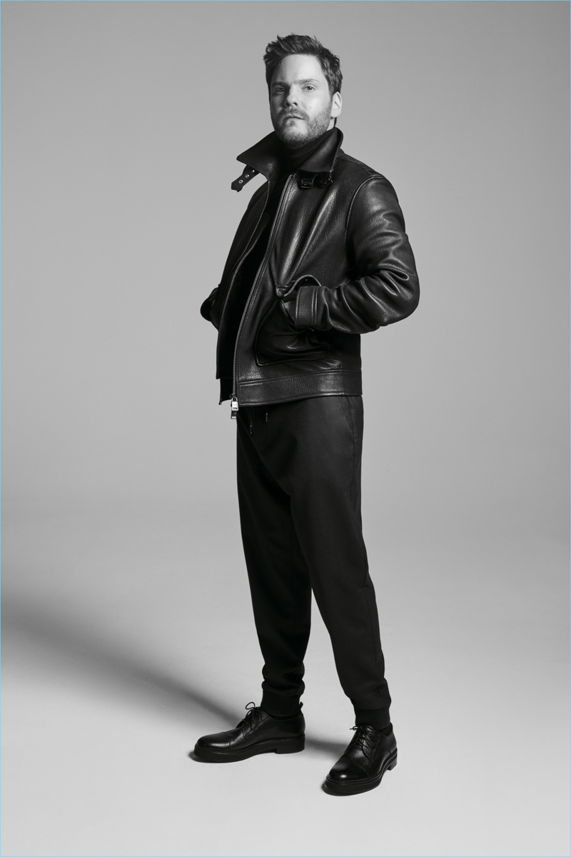 Actor Daniel Brühl dons a leather jacket for the BOSS Made in Germany capsule collection campaign.