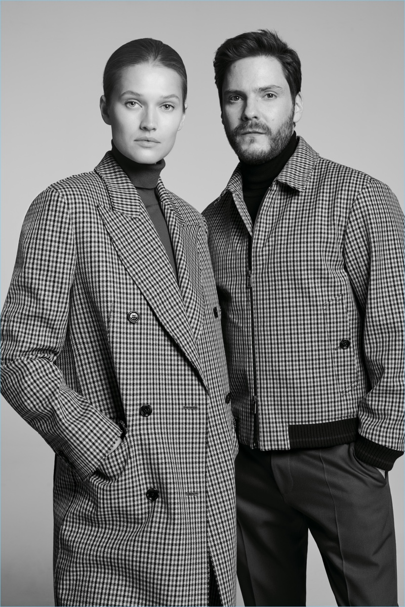 Model Toni Garrn joins Daniel Brühl for the BOSS Made in Germany capsule collection campaign.