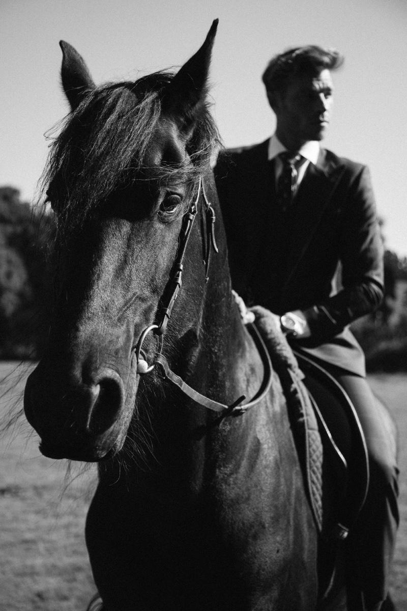 Captured on horseback, David Frampton wears a Helen Anthony suit.