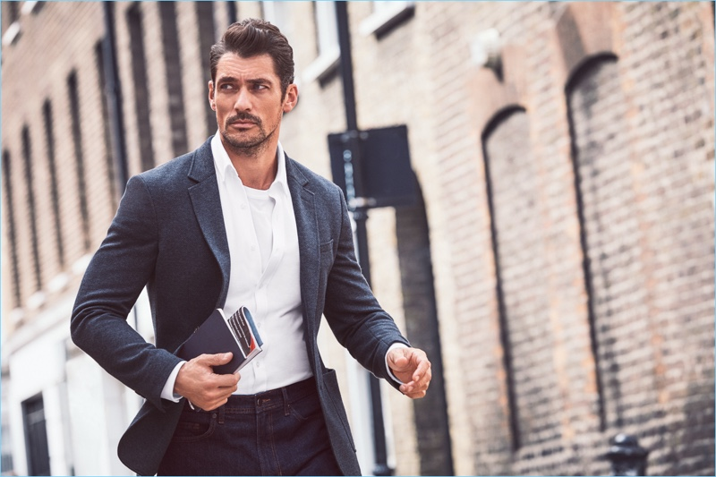 On the move, David Gandy is a smart vision in pieces from his on-going Marks & Spencer collaboration.